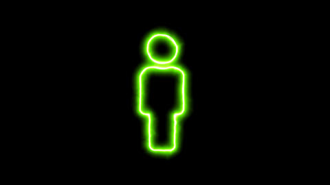 The appearance of the green neon symbol male. Flicker, In - Out. Alpha channel Animation