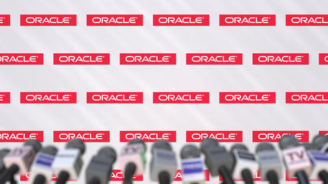 Media event of ORACLE, press wall with logo and microphones, editorial animation Footage