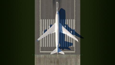 Satellite view of taking off airplane Animation