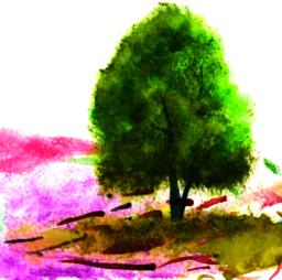 Landscape with a tree Vector