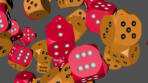 Red and Orange Color Dice Collided Animation
