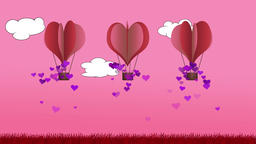 Animated heart shape balloons against a blue background Animation