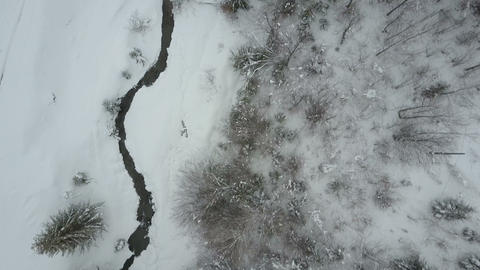 Carpathian village in the snow from a height. Low flight over a river and pine Archivo