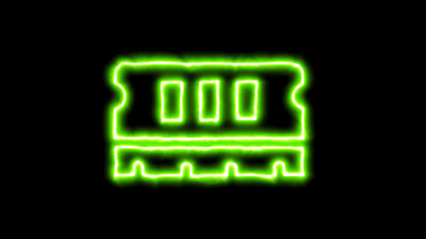 The appearance of the green neon symbol memory. Flicker, In - Out. Alpha channel Animation