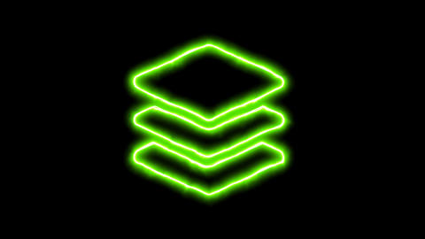 The appearance of the green neon symbol layer group. Flicker, In - Out. Alpha Animation