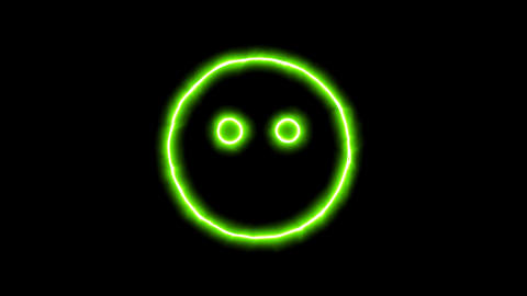 The appearance of the green neon symbol meh blank. Flicker, In - Out. Alpha Animation