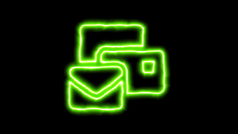 The appearance of the green neon symbol mail bulk. Flicker, In - Out. Alpha Animation