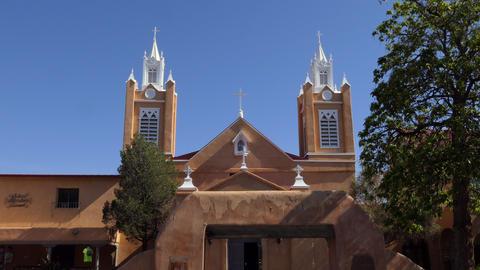 Facade San Felipe De Neri Church Santa Fe New Mexico Footage