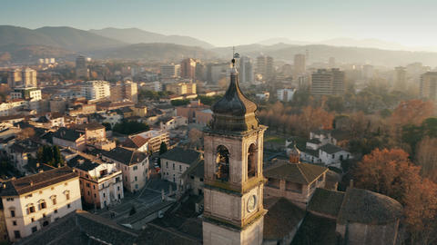 Aerial shot of the city of Terni Cathedral and cityscape. Umbria, Italy GIF