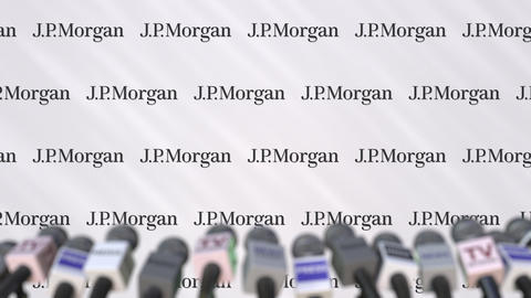 Media event of JPMORGAN, press wall with logo and microphones, editorial Footage