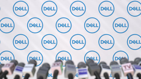 News conference of DELL, press wall with logo as a background and mics Footage