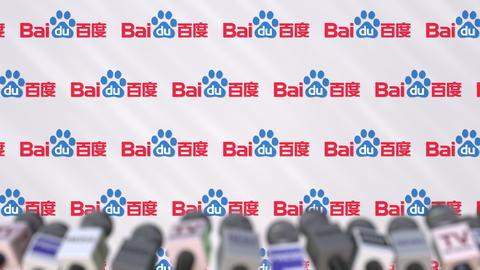 Media event of BAIDU, press wall with logo and microphones, editorial animation Footage