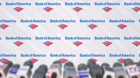 Press conference of BANK OF AMERICA, press wall with logo and microphones Footage