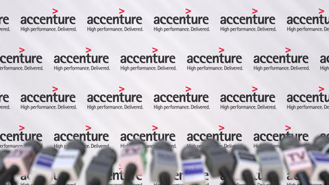 Press conference of ACCENTURE, press wall with logo and microphones, conceptual Footage