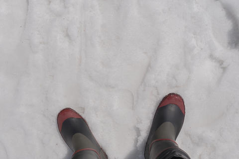 Top view of boots in the snow, winter season フォト