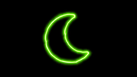 The appearance of the green neon symbol moon. Flicker, In - Out. Alpha channel Animation