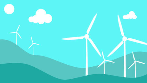 Modern windmills. Wind energy. Concept of ecology and environment - Loop 애니메이션
