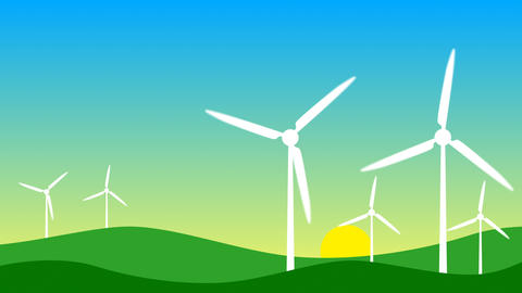 Modern windmills. Wind energy. Concept of ecology and environment - Loop Animation