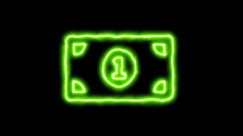 The appearance of the green neon symbol money bill one. Flicker, In - Out. Alpha Animation