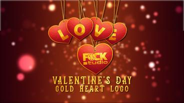 Valentines day - gold heart logo Apple Motion Template