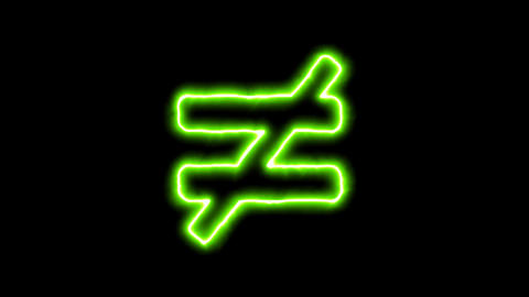 The appearance of the green neon symbol not equal. Flicker, In - Out. Alpha Animation