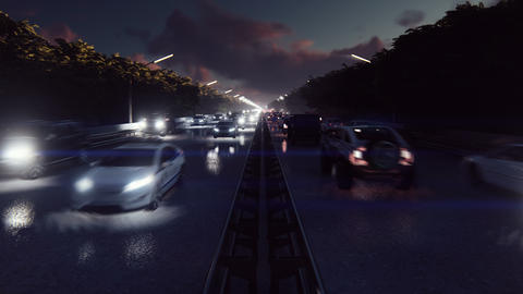 Night cars lights and heavy traffic. Cars with headlights on go to the city at Animation
