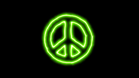 The appearance of the green neon symbol peace. Flicker, In - Out. Alpha channel Animation