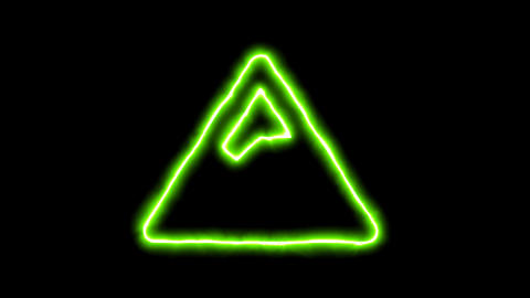 The appearance of the green neon symbol mountain. Flicker, In - Out. Alpha Animation