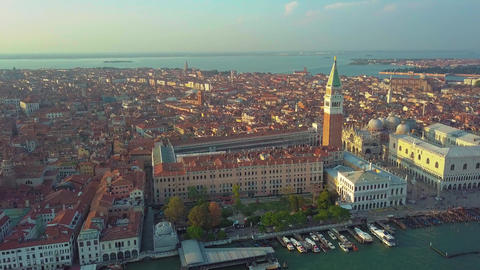 Aerial view of Venice panoramic landmark, aerial view of Piazza San Marco or st Footage