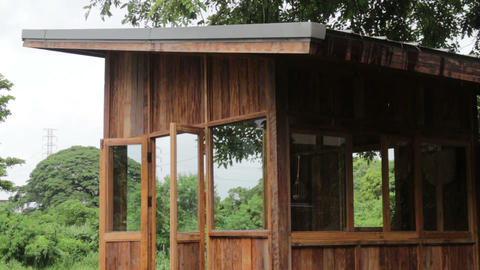 Eco friendly hut in raining day Footage