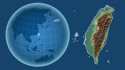 Taiwan and Globe. Relief Animation