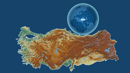Turkey and Globe. Relief Animation