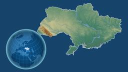 Ukraine and Globe. Relief Animation