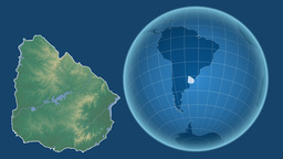 Uruguay and Globe. Relief Animation