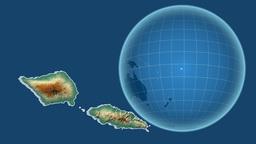 Samoa and Globe. Relief Animation