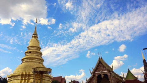 Pagoda and temple in North of Thailand, Lamphun Footage