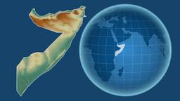 Somalia and Globe. Relief Animation