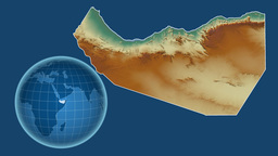 Somaliland and Globe. Relief Animation