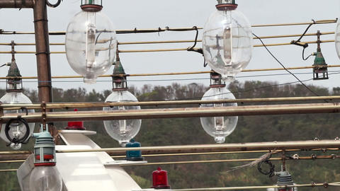 Fishing boat light lamps for fish and squid at night Footage