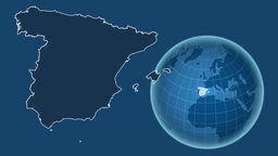 Spain and Globe. Solids Animation