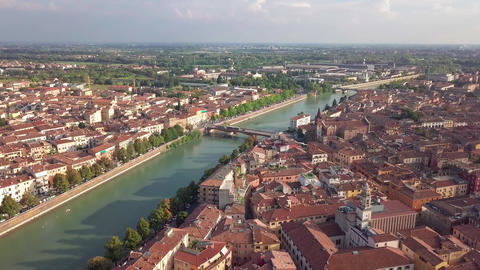 Verona Italy Skyline Aerial view from sky, video in 4K, Italy. Aerial view of Footage