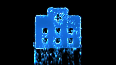 Liquid symbol hospital appears with water droplets. Then dissolves with drops of Animation