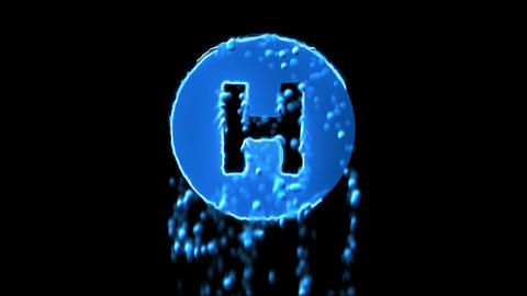 Liquid symbol hospital symbol appears with water droplets. Then dissolves with Animation