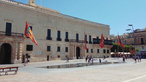 Valletta, Malta Grandmasters Palace facade in St Georges Square Live Action