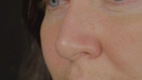 Women's nose, close-up Live Action