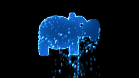 Liquid symbol hippo appears with water droplets. Then dissolves with drops of Animation
