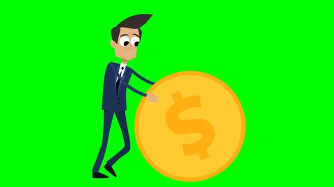 Businessman Animation - rolling a dollar coin Animation