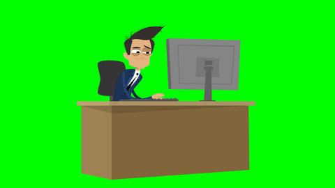 Businessman Animation - working weary at desk Animación