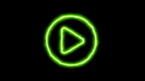 The appearance of the green neon symbol play circle. Flicker, In - Out. Alpha Animation