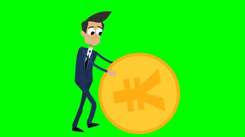 Businessman Animation - rolling a yen coin Videos animados